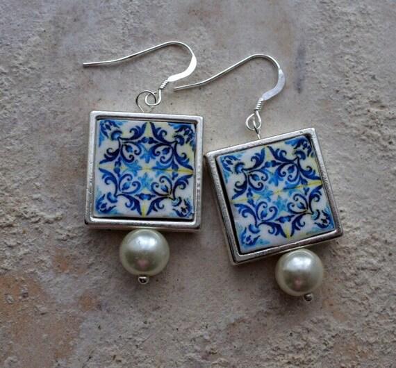 Portugal Antique Azulejo Tile Replica Earrings SILVER FRAMED - Church of Mercy PoRTO 1590 - Reversible waterproof 585 SF