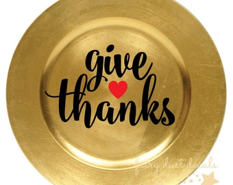 Give Thanks decal, Thanksgiving Vinyl Lettering, Give Thanks Vinyl Sticker, heart decal, November Holiday stickers, christmas decals, decal