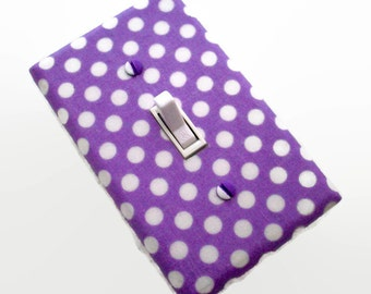 Purple Light Switch Cover - Polka Dots Switch Plate - Girls Nursery Decor - Girl Purple Bedroom Switchplate - Purple White Dots Switch Plate
