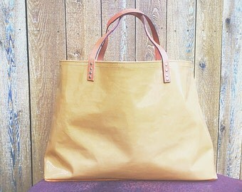 Camel Patent Leather Large Tote with Suede Bottom