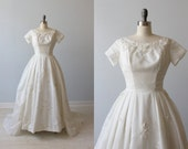1950s Wedding Dress / Silk Organza Beaded Wedding Dress / Modest Wedding Dress / Short Sleeves / Winsome