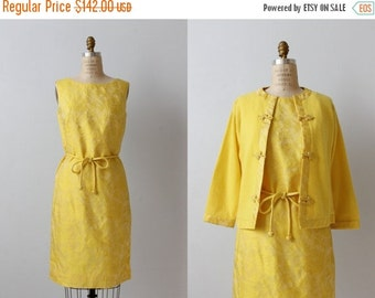 SALE Vintage 1960s Golden Yellow Sheath Dress with a Matching Cashmere Sweater / Shift Dress / Dynasty Collection