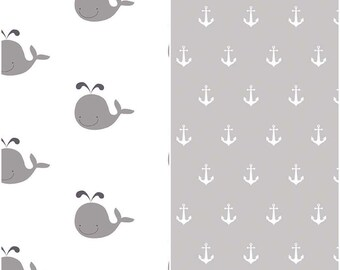 SUMMER SALE  - 1 1/4 Yards Each - Blanket Cut - Double Gauze - Whales in Gray and Anchors in Gray - Riley Blake Designs