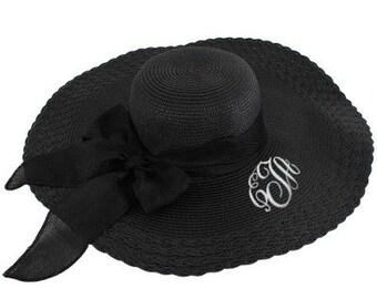 Personalized Black Black Ribbon Floppy Hat
