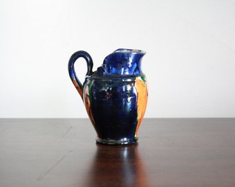 Tiny Painted Orange, Green and Blue Pitcher