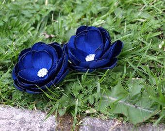 Navy Blue Colored Satin Flower Hair Pins - Brooches - Shoe Clips Set of 2