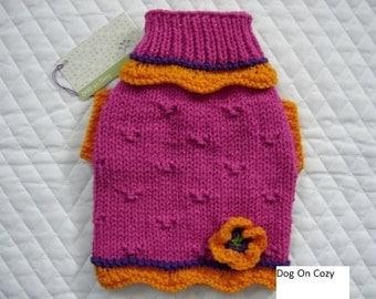 Cute Dog Sweater, Hand Knit Pet Sweater, Pet Top, Size XSMALL, Poppy