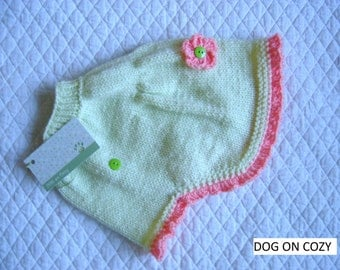 Flared Dog Sweater, Hand Knit Sweater for Pet, Size MEDIUM, Sweater Cape Lime Green