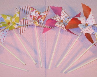 Pink Floral Graphics Pinwheel Collection  (Qty 16)  Pinwheels, Decorative Pinwheels, Pinwheel Center Pieces, Table Top Party Props, Props