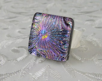 Dichroic Fused Glass Ring - Glass Ring - Fused Glass Ring - Metal Ring - Geekery Jewelry - Dichroic Jewelry - Large Jewelry X4709