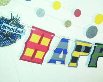 Harry Potter HAPPY BIRTHDAY Banner, Hogwarts Houses Birthday Banner, Harry Potter Birthday Decor, Harry Potter Birthday Party, Potter Party