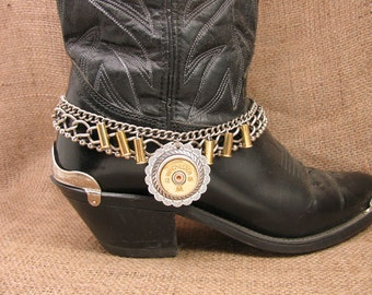 Ladies Accessories - Boot Candy - Bullet Jewelry - 12 Gauge Shotgun Casing Concho Medallion Multi-Chain Boot Bracelet - Boot Bling