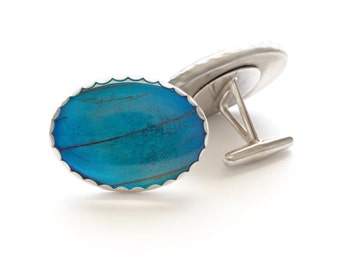 Sterling Silver Real Butterfly Wing Cuff Links Blue Morpho