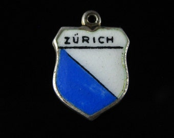 Charm, Zurich, Rue, 800 Silver, Blue & White Enamel, Zurich, Travel Shield, Coat of Arms Charm