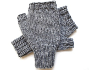Gray Texting Gloves for Men, Teen Boys, Handknit Fingerless Gloves, Hand Warmers, gift for men, wool gloves, knit gloves, mitts,  size M/L
