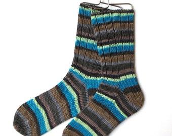 Cashmere Merino Blend Socks for Women, Girls, Handknit Socks, DK weight, striped socks, brown turquoise green socks, DK weight socks, ribbed
