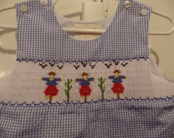 Toddler boys blue gingham shortall with scarecrows!  size 12 months