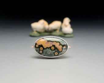 Ocean Jasper Ring, Sterling Silver, 14kt Gold, Green and Gold