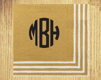 Gold Stripe Border Cocktail Napkins: Your Choice of Monogram and Ink Color