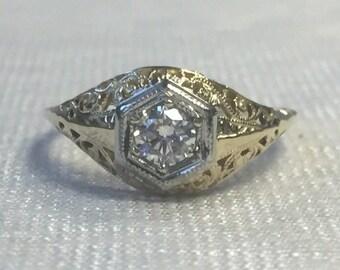 Vintage Edwardian Diamond Filigree Engagement Ring