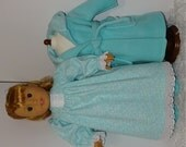 Aqua Fleece Robe and Slippers with Flannel Nightgown, Fits 18 Inch American Girl Dolls