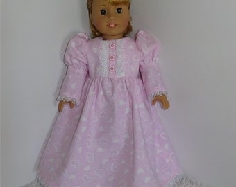 Pink Heart Flannel Nightgown, Fits 18 Inch American Girl Dolls