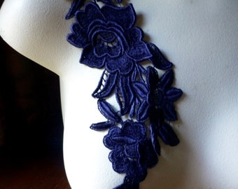 Navy Blue no. 2 Lace Applique with Triple Flowers Venice Lace for Bridal, Costume Design CA