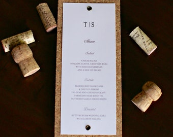 Dinner Menu made with real pressed Cork and Grommets  - for Wedding Reception or Party at Winery, Vineyard