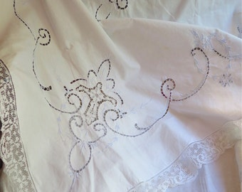 """Embroidered Cotton Tablecloth in White with Filet Lace Trim Hand Embroidery in Pale Blue 82.5"""" x 68"""""""