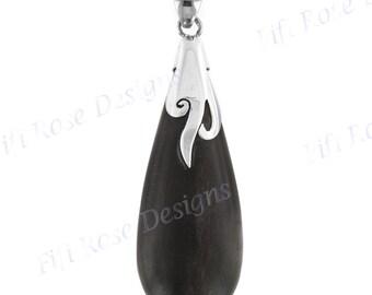 "2 3/8"" 925 sterling silver filigree on black wood pendant"