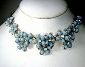 Blue Flower Linked Necklace, With White Rhinestone Centers, Gold Chain Adjustable Length, 1950s, Something Blue
