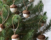 Felted Acorn Ornaments  - set of 10 in snow white