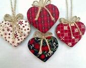 Cranberry Heart Ornaments   Party Favors   Valentine's Day   Holidays   Wedding Bridal   Folk Art   Handmade   Tree Ornament   Set/4   #1