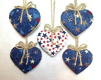 Red White & Blue Americana Heart Ornaments | July 4th Decor | Party Favor | Holidays | Patriotic | Tree Ornament | Handmade | Set/5 | #3