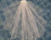 White First Communion Veil Satin Flowers on Clip Barrette 1 Tier Veil with Scalloped Beaded Pearl Edge  23 Inches Long  72559