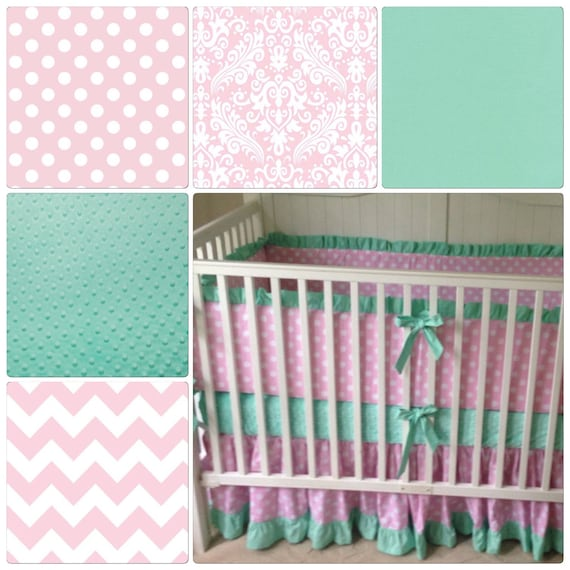 crib bedding set pink and mint green made to order