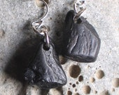 Natural Whitby Jet Sea Jet Black Sterling Silver Earrings (704)
