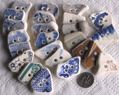 24 Large Sea Beach Pottery Buttons Focals Double Drilled 3mm holes Supplies (1874)
