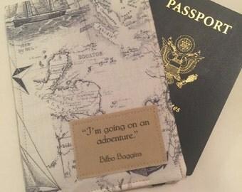 """Passport Cover, Map Print """"I'm going on an Adventure"""" Passport Holder,  passport case, Vegan Passport Wallet"""