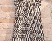 SALE Modern Graphic Grey White Peasant Dress - girls kids fall winter fashion clothing - handmade custom size 2T 3T 4 5 6 7 8