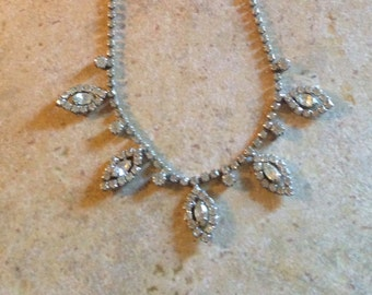 Clear Rhinestone Necklace and Earring Set by Weiss
