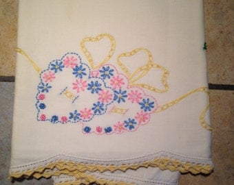 Hand Embroidered Pink, Yellow, and Blue Heart Pillow Case with Hand Crocheted Edge