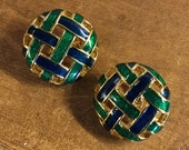 Signed D'Orlan Green and Blue Basketweave Dome Earrings Clip On