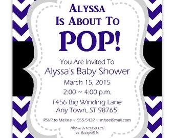 About to Pop Baby Shower Invitation, Navy Blue About to Pop Invitation, CUSTOM 4x6 or 5x7 size - YOU PRINT - navy blue chevron baby invit