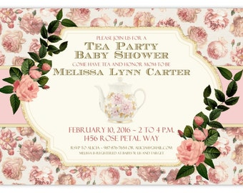Vintage Baby Shower Invitation, Shabby Chic baby shower invite, Roses and Tea pot, CUSTOM 4x6 or 5x7 size - vintage rose shower, YOU Print