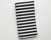 NEW - black and white striped fauxdori fabric travelers notebook cover, notebook included
