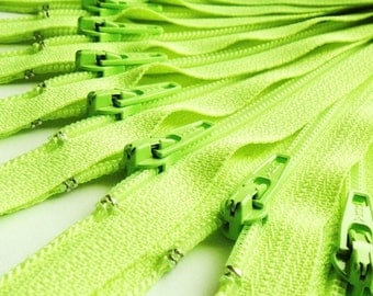 Fluorescent Green 8 Inch Zippers (5) Pieces YKK