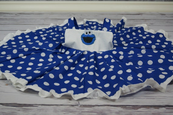 custom boutique twirl dress made with cookie monster patch 2-6