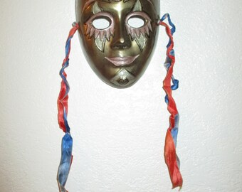 Vintage Indian Brass Mask Mardi Gras Wall Hanging with Enamel Pink Gold