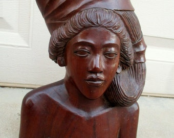 Vintage Balinese Man Tribal Wood Carving Statue Hand Carved Wooden Figure Bust Bali Sculpture